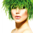 Beauty Spring Woman with Fresh Green Grass Hair. Summer Nature — ストック写真