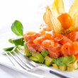 Salmon Tartar over White - Stock Photo