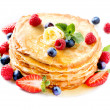 Pancake. Crepes With Berries. Pancakes stack isolated on White — Stock fotografie