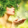 Stock Photo: Spring Woman. Summer Girl with Grass Hair and Green Makeup
