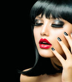 Fashion Girl Closeup. Red Lips And Black Nails — Stock Photo