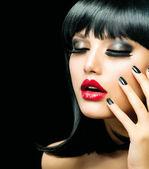 Fashion Girl Closeup. Red Lips And Black Nails — Stock Photo