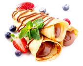 Crepes With Chocolate Cream and Berries — Stock Photo