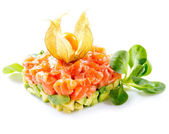 Tartare de saumon sur fond blanc — Photo