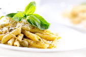 Penne Pasta with Pesto Sauce. Italian Cuisine — Stock Photo