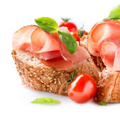 Jamon. Slices of Bread with Spanish Serrano Ham. Prosciutto — Stock Photo