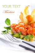 Salmon Tartar over White Background — Stock Photo