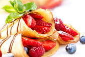 Crepes With Berries. Crepe with Strawberry, Raspberry, Blueberry — Stock Photo