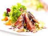 Salad With Smoked Eel with Unagi Sauce — Stock Photo