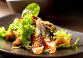 Salad With Smoked Eel with Unagi Sauce — Foto Stock