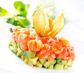 Salmon Tartar over White Background — 图库照片