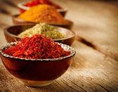 Especiarias curry, açafrão, curcuma — Foto Stock
