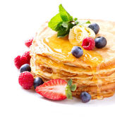 Pancake with Berries. Pancakes Stack over White — Stok fotoğraf
