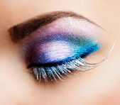 Eye Makeup. Beautiful Eyes Glitter Make-up — Stok fotoğraf