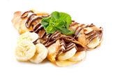 Crepes With Banana And Chocolate — Stock Photo