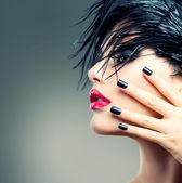 Retrato de menina moda arte. estilo punk — Foto Stock