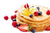 Pancake with Berries. Pancakes Stack over White — Stock Photo