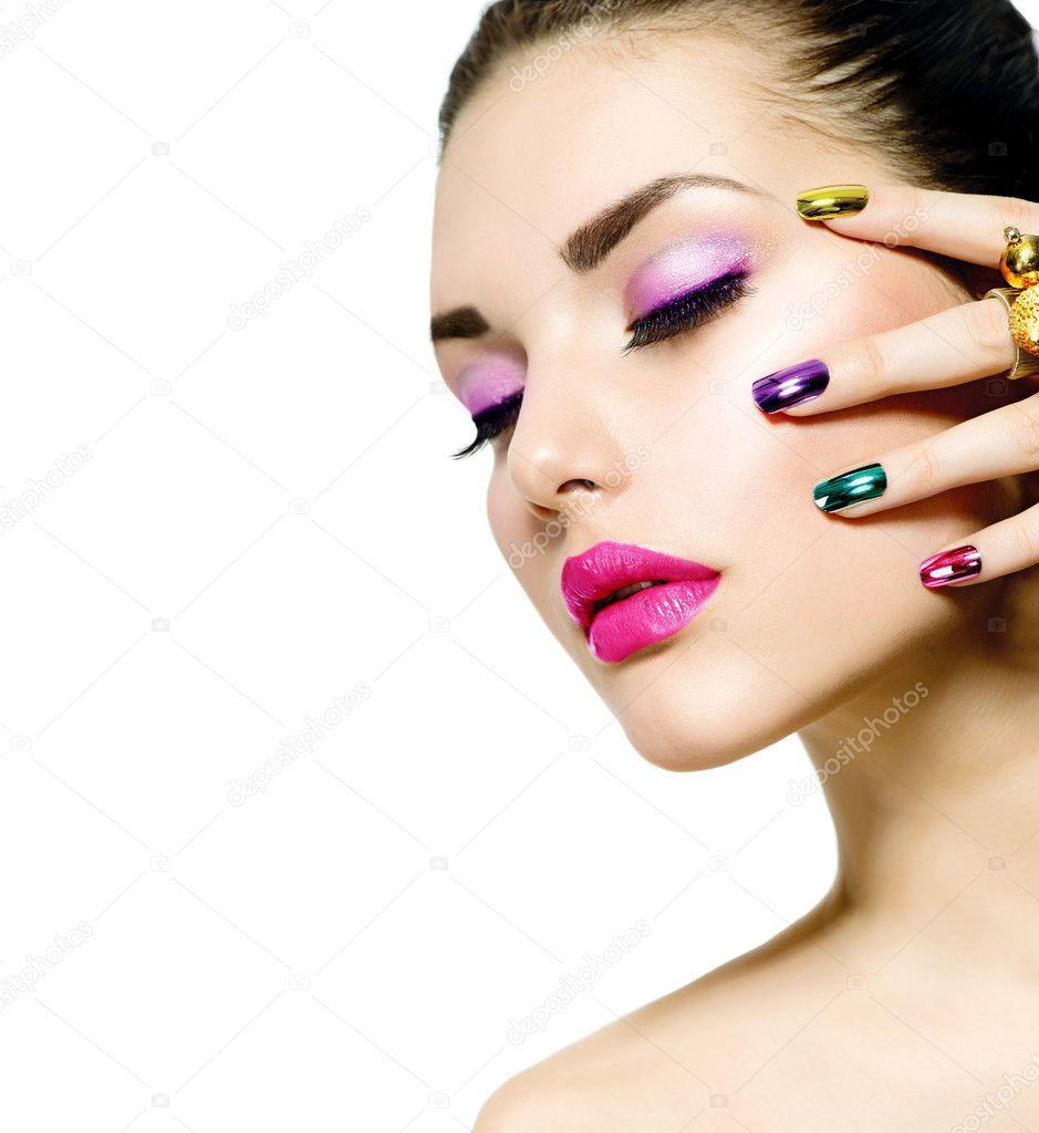 Fashion Beauty. Manicure and Make-up. Nail Art u2014 Stock Photo ...