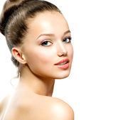 Portrait of Beautiful Young Woman with Fresh Clean Skin — Stock Photo