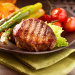 Stock Photo: Grilled Beef Steak Meat with Vegetables