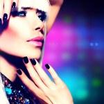 Fashion Disco Party Girl Portrait. Purple Makeup and White Hair — Stock Photo
