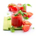 Tomato Juice and Fresh Tomatoes isolated on a White Background — Stock Photo