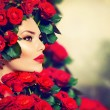 Beauty Fashion Model Girl Portrait with Red Roses Hairstyle — Stock Photo #29983959