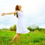 Enjoyment. Free Happy Woman Enjoying Nature. Girl Outdoor — Stock Photo