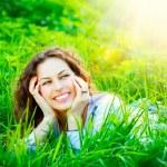 Young Woman Outdoors. Enjoy Nature — Stock Photo #29984069