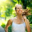 Running woman. Outdoor Workout in a Park  — Stockfoto
