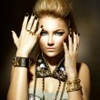Stok fotoğraf: Fashion Rocker Style Model Girl Portrait