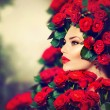 Beauty Fashion Model Girl Portrait with Red Roses Hairstyle — Stock Photo