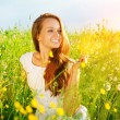 Beautiful Girl Outdoor. Enjoy Nature. Meadow. Allergy Free  — Stock Photo