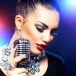 Singing Woman with Retro Microphone — Stock Photo