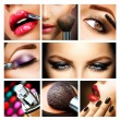 Makeup Collage. Professional Make-up Details. Makeover — Stock Photo #29984783