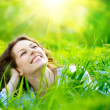 Stock Photo: Beautiful Young Woman Outdoors. Enjoy Nature