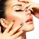 Beautiful Fashion Girl's Face. Make-up and Manicure — Stock Photo