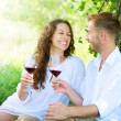 Picnic. Young Couple relaxing and drinking Wine in a Park  — Stok fotoğraf