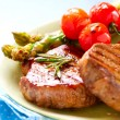 Stock Photo: Grilled Beef Steak Meat over White
