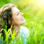 Beautiful Young Woman Outdoors. Enjoy Nature — Stock Photo #29985275