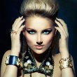 Fashion Rocker Style Model Girl Portrait. Hairstyle — Foto de Stock