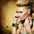 Fashion Rocker Style Model Girl Portrait. Sepia toned — 图库照片 #29985463
