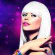 Fashion Disco Party Girl Portrait. Purple Makeup and White Hair — Stok fotoğraf