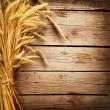 Foto Stock: Wheat Ears on the Wooden Table. Harvest concept