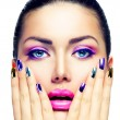 Beauty Makeup. Purple Make-up and Colorful Bright Nails — Stock Photo