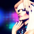 Stock Photo: Fashion Disco Party Girl Portrait. Purple Makeup and White Hair