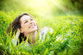 Young Woman Outdoors. Enjoy Nature — Stock Photo