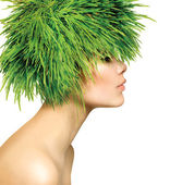 Beauty Spring Woman with Fresh Green Grass Hair — Stock Photo