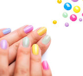 Nail Polish. Trendy Colourful Manicure — Stock Photo