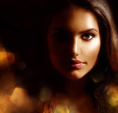 Beauty Girl Dark Portrait with Golden Sparks. Mysterious Woman — Stock Photo